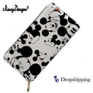 NOISYDESIGNS Luxury Women Wallets Cute Cartoon Mouse Printing Purse Ladies PU Leather Phone Holders Females Clutch Money Bag(China)