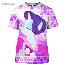 LBGNew Pony Polaroid 3D Print T-Shirt Fashionable Short Sleeve for Men and Women Casual Cartoon Harajuku