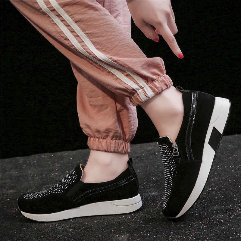 HEE GRAND Frauen Slip Auf Creepers Beiläufige Plattform Schuhe Frühling 2020 Strass Müßiggänger Schuhe Frau Frühling PU Keil Schuhe XWD7953
