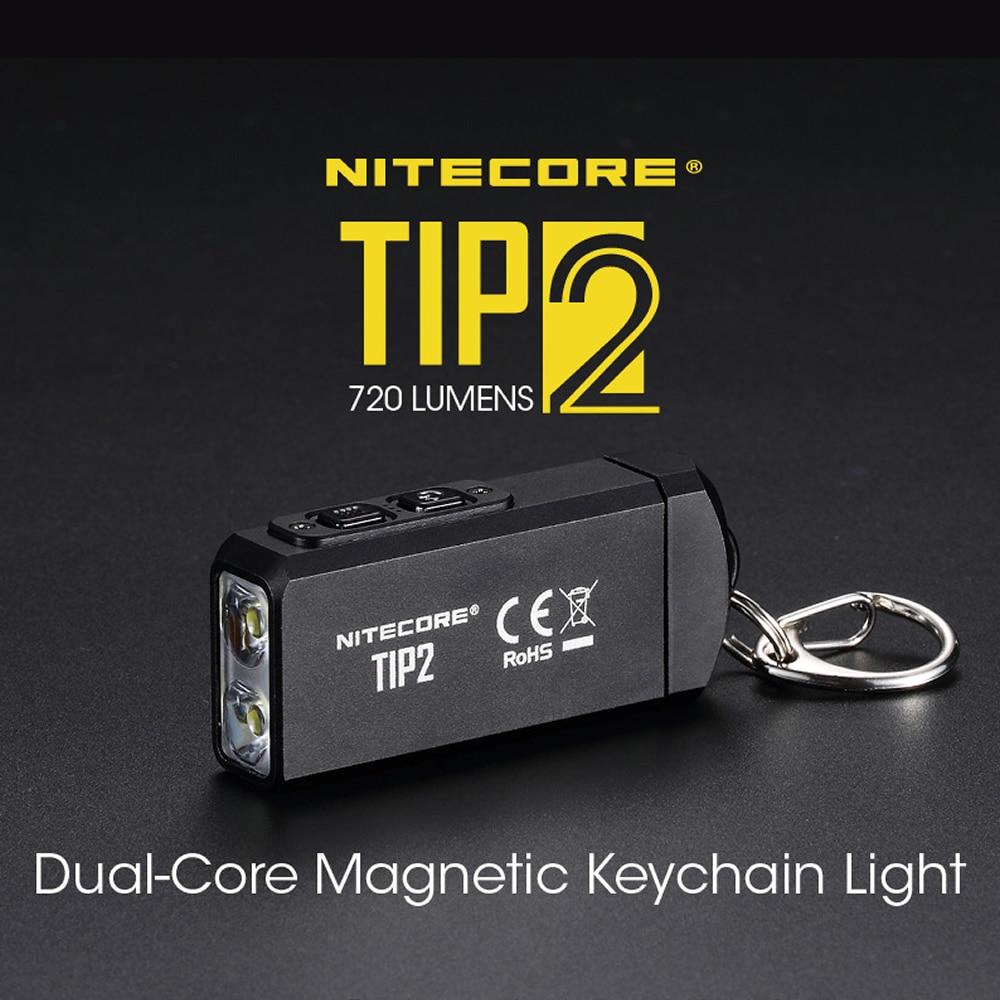 100% Оригинальный мини светильник NITECORE TIP2 CREE XP G3 S3 720 люмен USB Перезаряжаемый светильник брелок с батареей