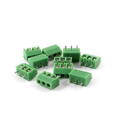 10 pièces 3Pin 3.96mm espacement 300V 10A PCB Type de montage bornier vert
