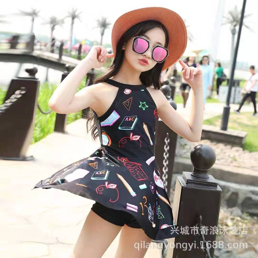 Bathing Suit Women's Children Dress-Cute Princess Baby Big Boy Swimwear Students Girls Hot Springs Tour Bathing Suit