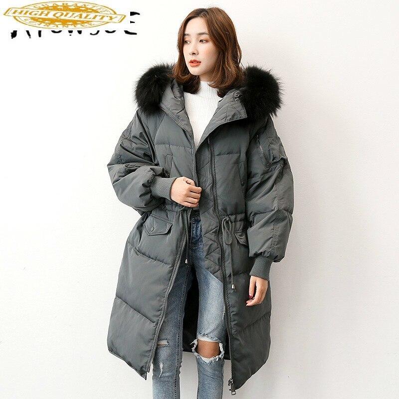 90% White Goose Down Jacket Women Winter Coat Women Raccoon Fur Collar Korean Puffer Jacket Women Warm Parka YS61020001 YY1623