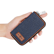 WilliamPolo Denim Key case leather women men's multifunctional key chain coin purse large capacity universal car key storage