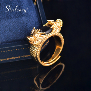 SINLEERY Luxury Dragon Pattern Rings Yellow Gold Color Oval Black Green Opal Free Size Rings For Men Fashion Jewelry JZ631 SSH(China)