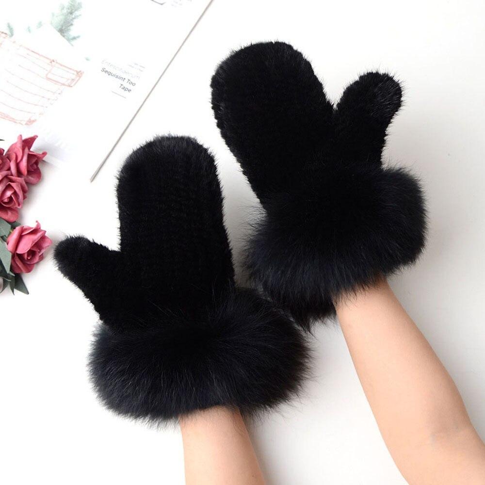 Новинка 2019, женские вязаные перчатки из меха норки, зимние теплые уличные меховые перчатки из меха лисы, HN281 - 2