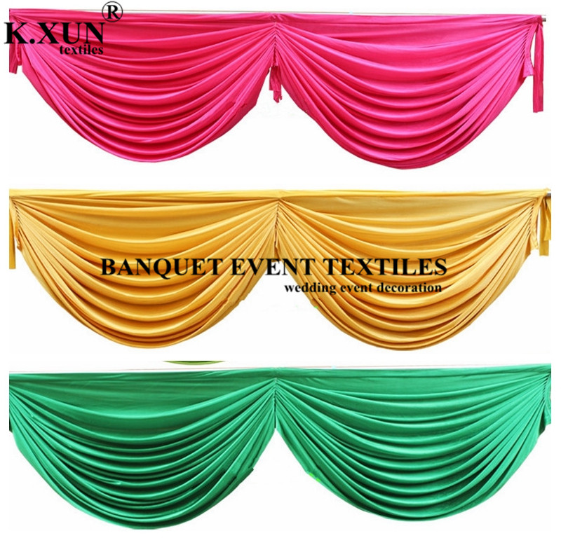 Wholesale Price Ice Silk Table Swag Valance Drape For Table Skirt Table Cloth Party Event Decoration