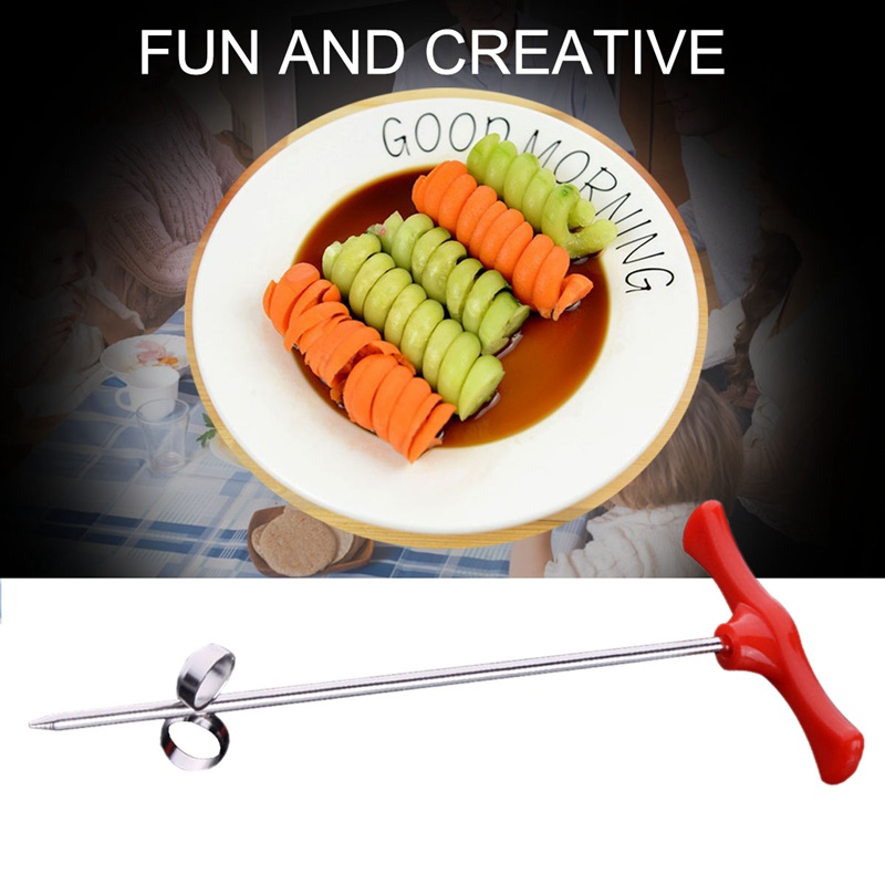 New Creative Vegetable Fruit Spiral Twist Knife Stainless Steel Manual Spiral Carving Cutter Kitchen Tray Decoration Vegetable K