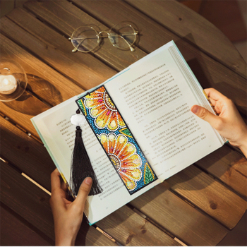 HUACAN 5D Diamond Painting Special Shaped Bookmark Diamond Art Embroidery Cross Stitch Leather Tassel Book