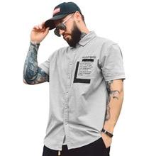 new Mens Shirts Cotton 2019 Summer Short Sleeve Male Office Shirt Pocket Design Printed Boy Blouse Dress Regular Plus Size 7xl