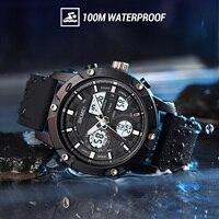 Azul del reloj SKMEI 3 DE TIEMPO Digital reloj relojes para hombres de los hombres de pulsera de moda 100M impermeable deporte cronómetro reloj LED reloj hombre
