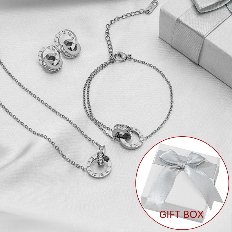 Luxury Elegant Roman Numeral Crystal Necklace Earrings Set For Women Fashion Stainless Steel Earrings 2021 Trend Wedding Jewelry