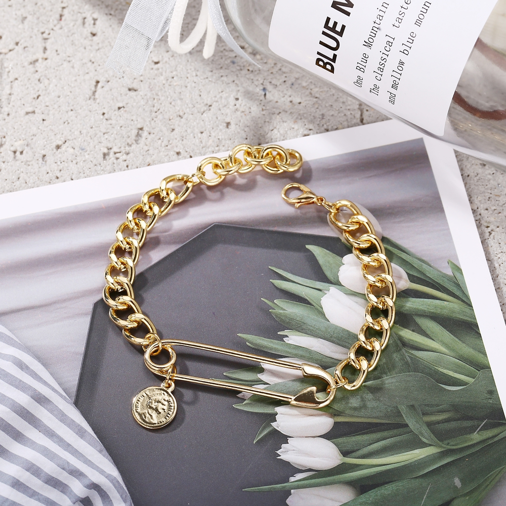 17KM New Design Gold Clip Coins Paper Bracelets For Women BOHO 19 Bracelet Bangles Femme Fashion Jewelry Accessories 7