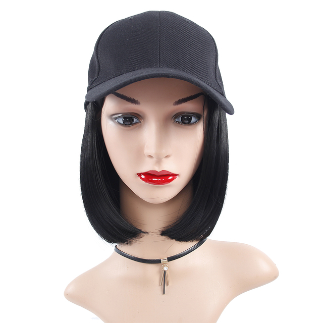 วิกผมสังเคราะห์หมวกเบสบอลหมวกสั้นตรงวิกผมสีบลอนด์สำหรับหญิงทนความร้อนเส้นใยตัดสั้น Wigs