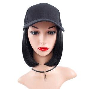 Image 1 - Peruka syntetyczna czapka z daszkiem z krótkimi prostymi peruki blond dla kobiet kobiece włókno termoodporne krótkie peruki