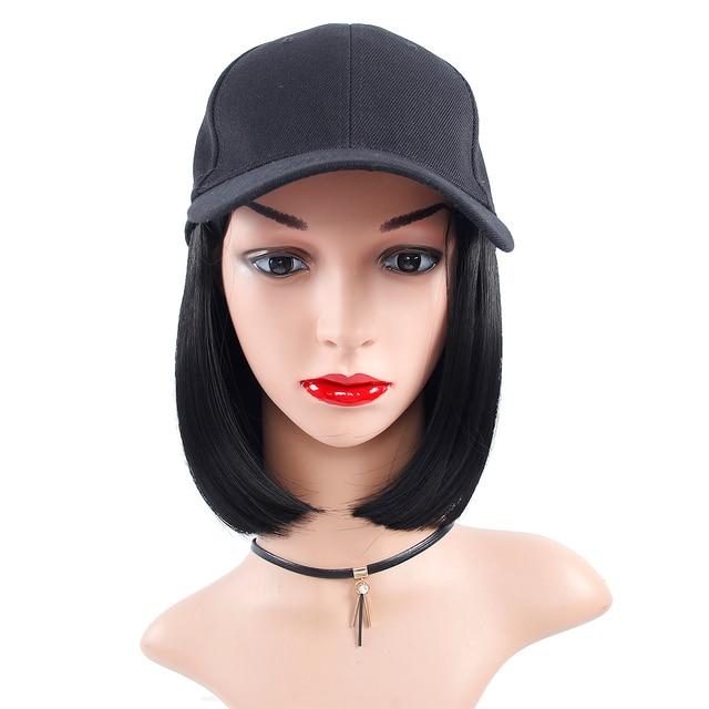 Peruka syntetyczna czapka z daszkiem z krótkimi prostymi peruki blond dla kobiet kobiece włókno termoodporne krótkie peruki
