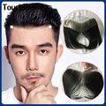 Передний парик прозрачный натуральный парик мужской парик тонкая кожа 0,12-0,15 мм V-образная петля Реми человеческие волосы мужской парик Заме...