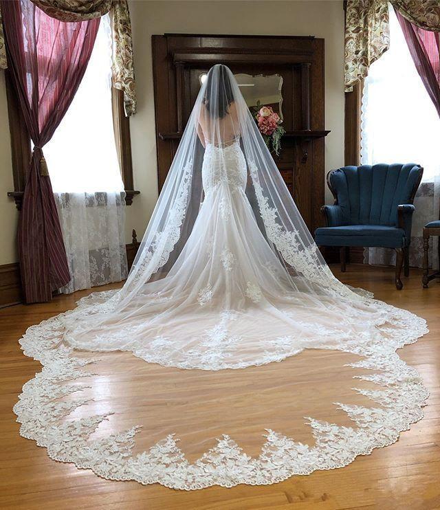 Hot Sale Cathedral Length Bridal Veils With Appliques In Stock Long Wedding Veils 2019 Vestido De Noiva Longo Wedding Veil
