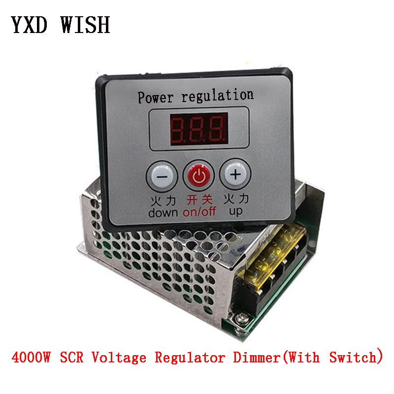 4000W 220V AC SCR Voltage Regulator Dimmer Electric Motor Speed Controller 220 V Electronic Regulator Dimmers + Digital Meters