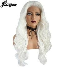 Ebingoo wysokiej temperatury włókna długie włosy typu Body Wave peruki pomarańczowy fioletowy biały syntetyczna koronka peruka Front z wdowa szczyt dla kobiet