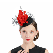 Brand New Wool Fedora Hats Black With Red Fascinator Flower Decoration Wedding Woman Elegant Felt Hat Winter Party Prom Top