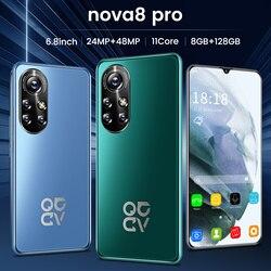 Global Version Nova8 Pro 6.8 Inch Smartphone HD Full Screen 6500mAh 8+256GB Face Unlock Dual SIM 4G LTE 5G Network Mobile Phone