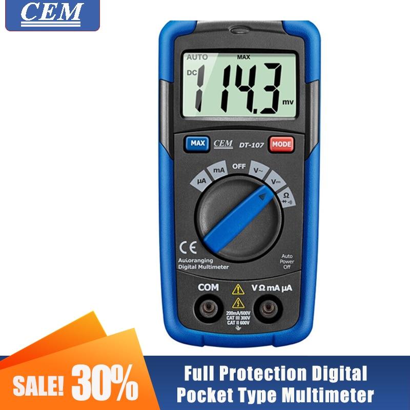 Цифровой мультиметр CEM DT-107/DT-111/DT-118 автоматическое измерение 3 в 1 E-тестеры Тип полный защитный карман Тип бесконтактная проверка напряжения ...