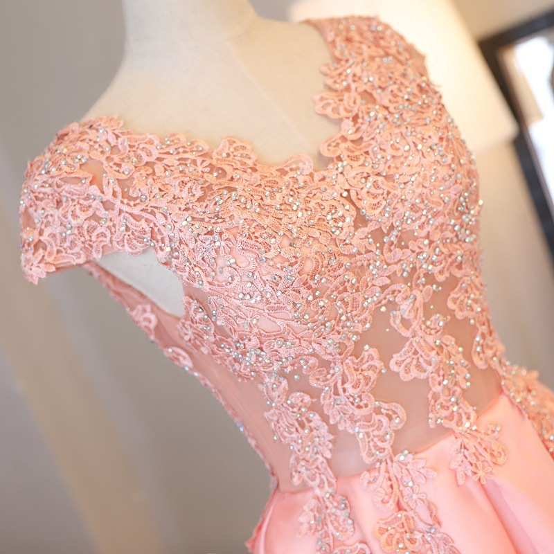 Beauty Emily Gorgeous 2020 Long Lace Appliques Pink Evening Dresses V Neck Sleeveless Pleated Prom Gown For Ceremony Party Dress 5