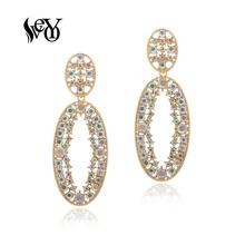 VEYO Rhinestone Drop Earrings for Women Trendy ZA Hollow out 3 Color Earrings New Wholesale Free shipping trendy rhinestone cut out winebottle keyring