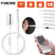 FUERS-endoscopio de limpieza de oído inalámbrico, boroscopio de otoscopio inalámbrico, HD 720P, WIFI, 5,5mm, Mini cámara, teléfono IOS y Android