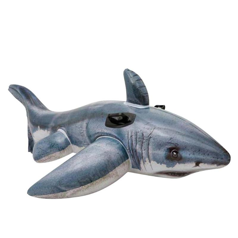 Summer Swimming Pool Water Toys Inflatable Floating Shark Swim Ring Mount