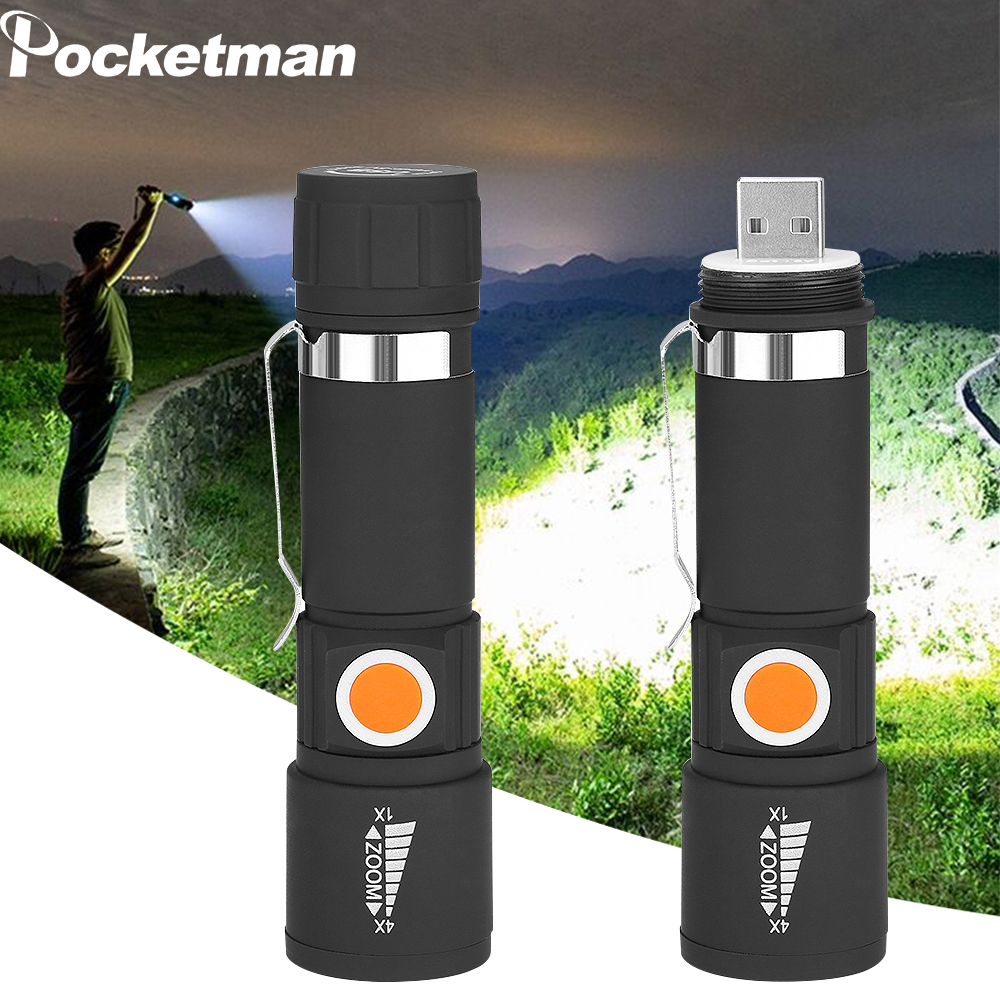 Super Bright LED Flashlight 3 Modes Mini Flashlight Portable Zoom USB Charging Lighting Highlight Handheld Waterproof Flashlight