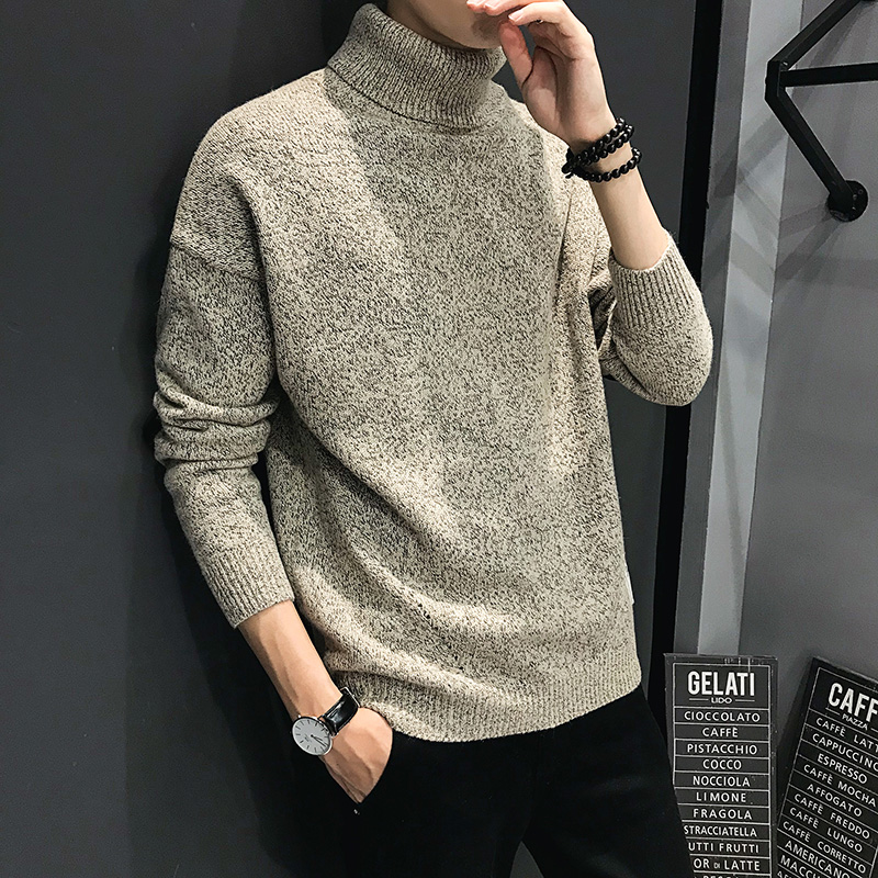 Thick Turtleneck Sweater Men 2019 Winter Clothing Casual Warm Knitted Pullover Elbow Spliced High Collar Quality Mens Jumpers