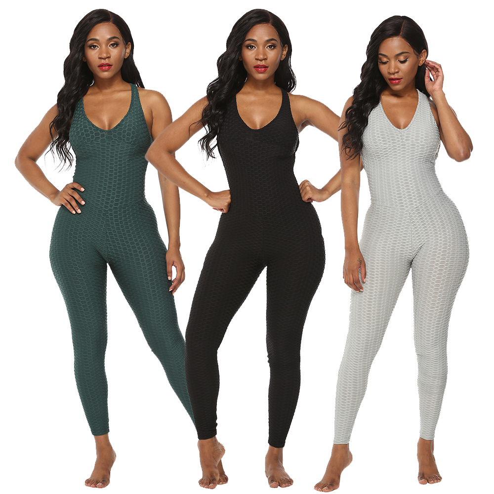 Women Jumpsuit Rompers Fitness Sexy Backless Halter Bodysuit Skinny Female Leggings Playsuit V-neck Sleeveless Sport Wear