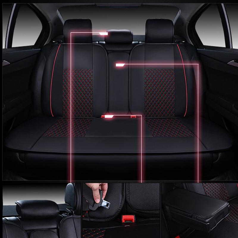 WLMWL Universele Lederen Auto seat cover voor Peugeot 206 307 407 207 2008 3008 508 208 308 406 301 alle modellen auto accessorie - 4