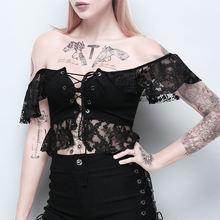 Женские элегантные топы новая одежда черные сексуальные кружевные