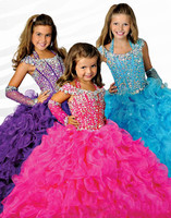 Pink Girls Pageant Dresses Ball Gown Halter Organza Beaded Crystals Ruffles Long Flower Girl Dresses For Weddings Little Girls
