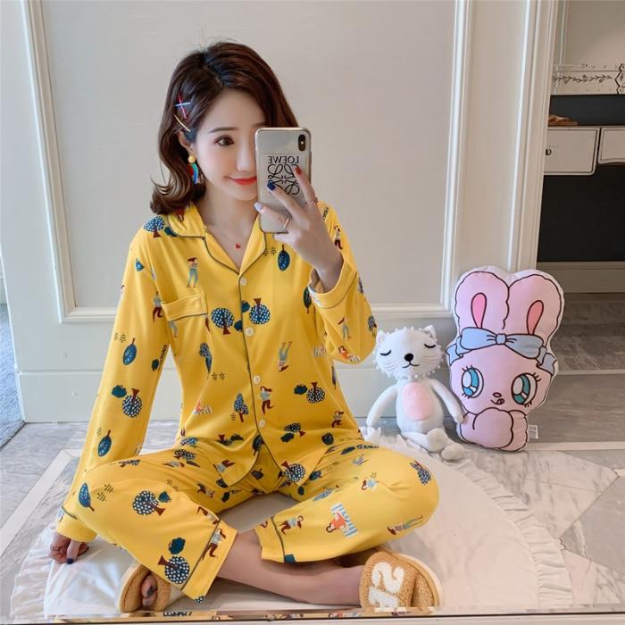 Girls Pijamas Autumn Winter Comfortable Women Pajamas Sets Long Sleeve Leisure Home Wear Lovely Sleepwear Set Loungewear Women