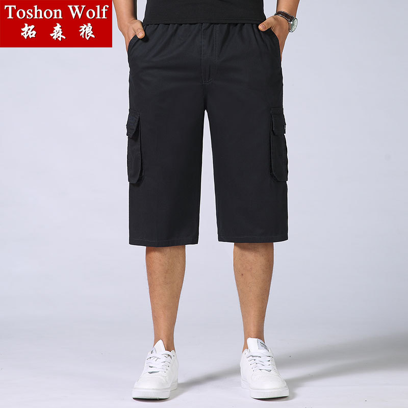 Summer Loose And Plus-sized Men's Trousers 2019 New Style Bib Overall MEN'S Cropped Pants Multi-pockets Casual Pants Shorts