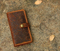 Women Embossing Leather Phone Wallet Case Mobile Wallet / Tooled Leather Phone Wallet Case Cover IP20MW B