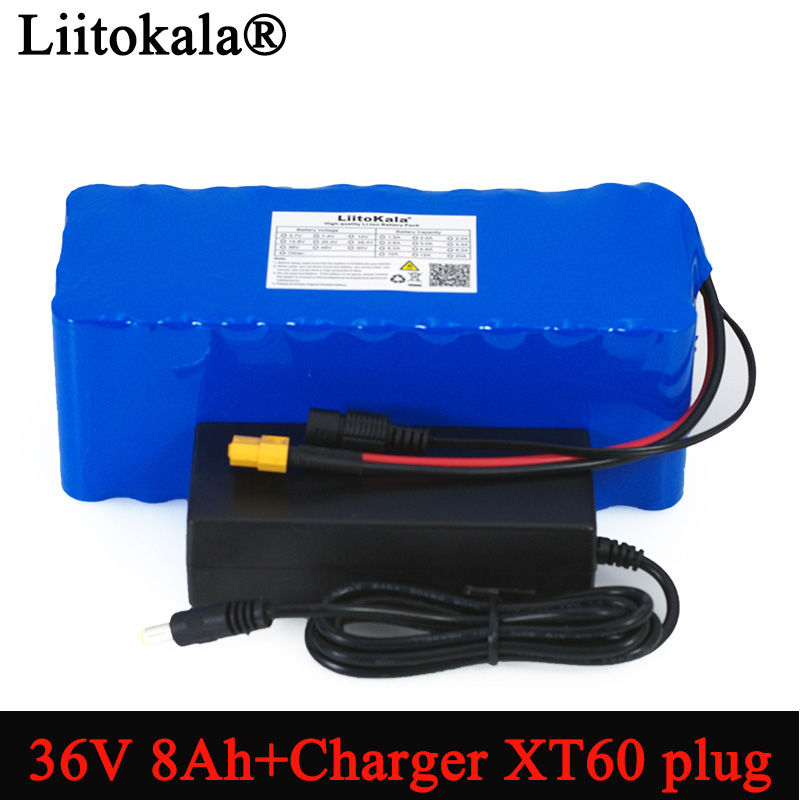 Liitokala 36V 8Ah 500w 18650 Rechargeable battery pack XT60 plug modified Bicycles electric vehicle Balance car+ 42v 2A Charger|Battery Packs| |  - title=