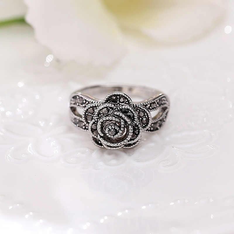 YD & YDBZ bohême noir Rose fleur femmes bague anneaux de mariage bijoux bague de fiançailles Vintage ethnique bijoux accessoires