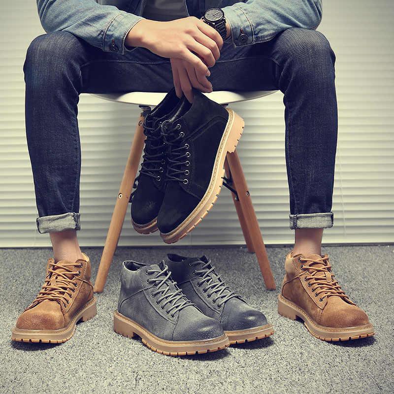 2019 winter Mannen enkellaarsjes Echt Leer warm rubber Hoge Kwaliteit Handgemaakte mannelijke laarzen # PZ6500