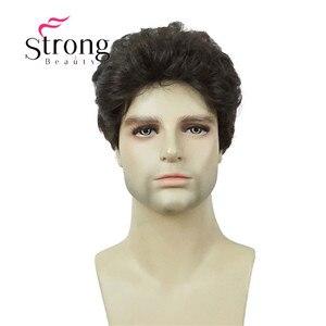 Image 2 - StrongBeauty マンリーショート茶黒ふわふわ自然な波フル強打耐熱性繊維合成かつら男性