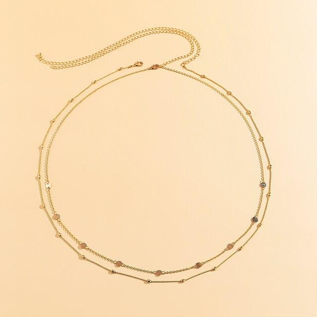Sexy Vintage Aesthetic Belly Chain Thin Beads Link Body Chain Waist Chain Belt Y2K Streetwear Summer Women Fashion Body Jewelry 4