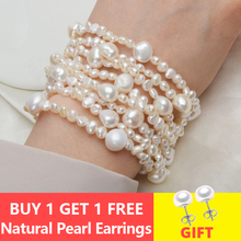ASHIQI Multilayer Natural Freshwater Pearl Bracelet for women Gorgeous 8 Strand Bracelets 4-10mm Pearl Jewelry stylish multilayer faux pearl round lace bracelet for women