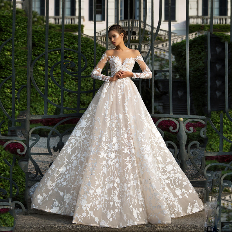 Long Sleeves Lace Wedding Dress 2019 Illusion Backless Princess Boho Lace Wedding Gown Plus Size Bride Dress Amanda Novias