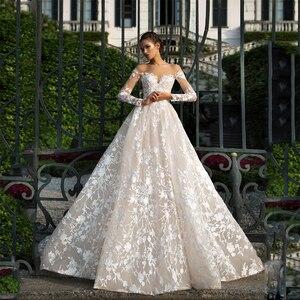 Image 1 - Long Sleeves Lace Wedding Dress 2019 Illusion Backless Princess Boho Lace Wedding Gown Plus Size Bride Dress amanda novias