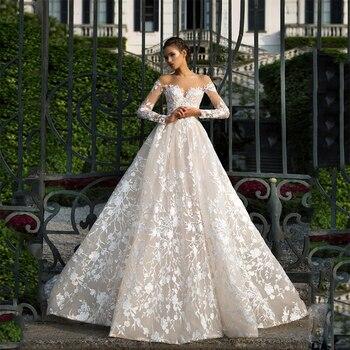 Long Sleeves Lace Wedding Dress 2019 Illusion Backless Princess Boho Gown Plus Size Bride amanda novias