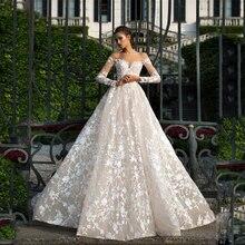 Áo Dài Tay Phối Ren Váy Cưới 2019 Ảo Giác Hở Lưng Công Chúa Ren Boho Áo Cưới Plus Kích Thước Cô Dâu Đầm Amanda Novias